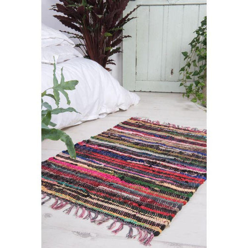 Recycled Small Multi-Coloured Rag Rug by Ian Snow - Gazebogifts