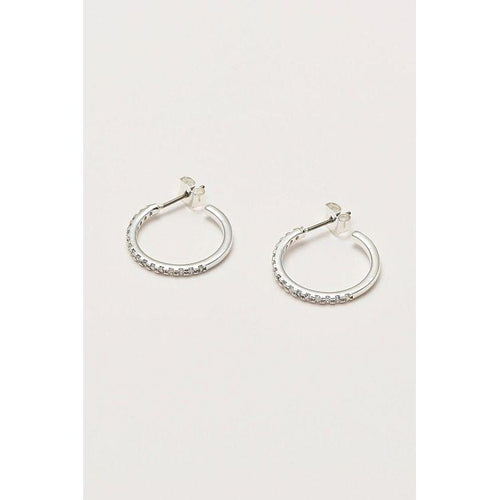 Estella Bartlett Silver Plated Pave Set Large Hoop Earrings - Gazebogifts