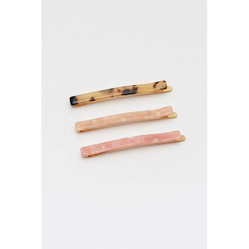 Estella Bartlett Resin Hair Slide Set - Peach, Blush Pink and Tortoiseshell - Gazebogifts