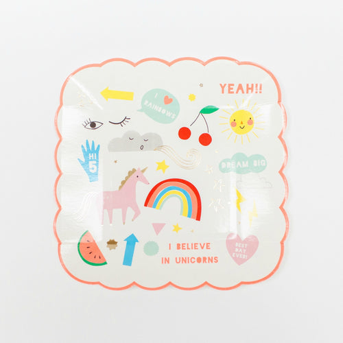 Rainbow & Unicorn Paper Plate - Gazebogifts