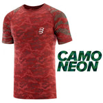 COMPRESSPORT TRAINING TSHIRT SS CAMO BURGUNDY - CAMO NEON 2020 - AM00039L_204