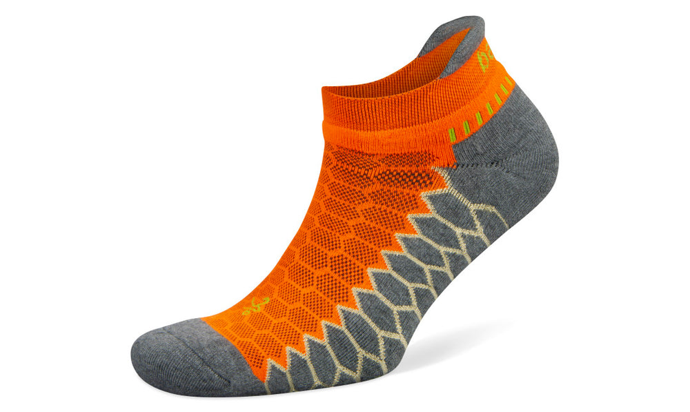 Balega Silver No Show - Neon Orange / Grey Heather