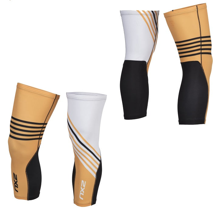 2XU Cycle Knee Warmers-UC4915B (WHT/CCO)