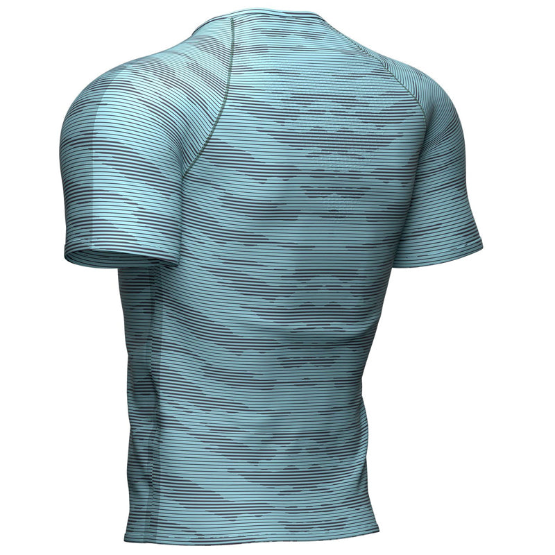 COMPRESSPORT TRAINING SS TSHIRT CAMO STRIPE NILE BLUE (AM00026B)