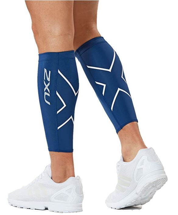 2XU Compression Calf Guards-UA1987B (NVY/WHT)