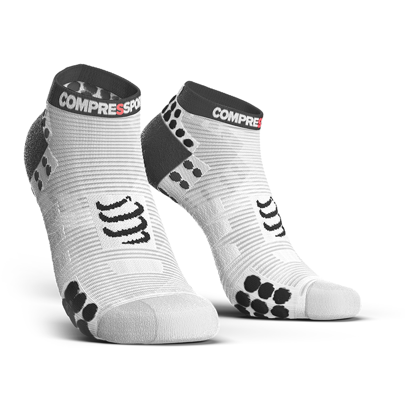 COMPRESSPORT PRO RACING SOCKS RUN LOW ASIA (RSLV3-00BK-AS)- WHITE/BLACK