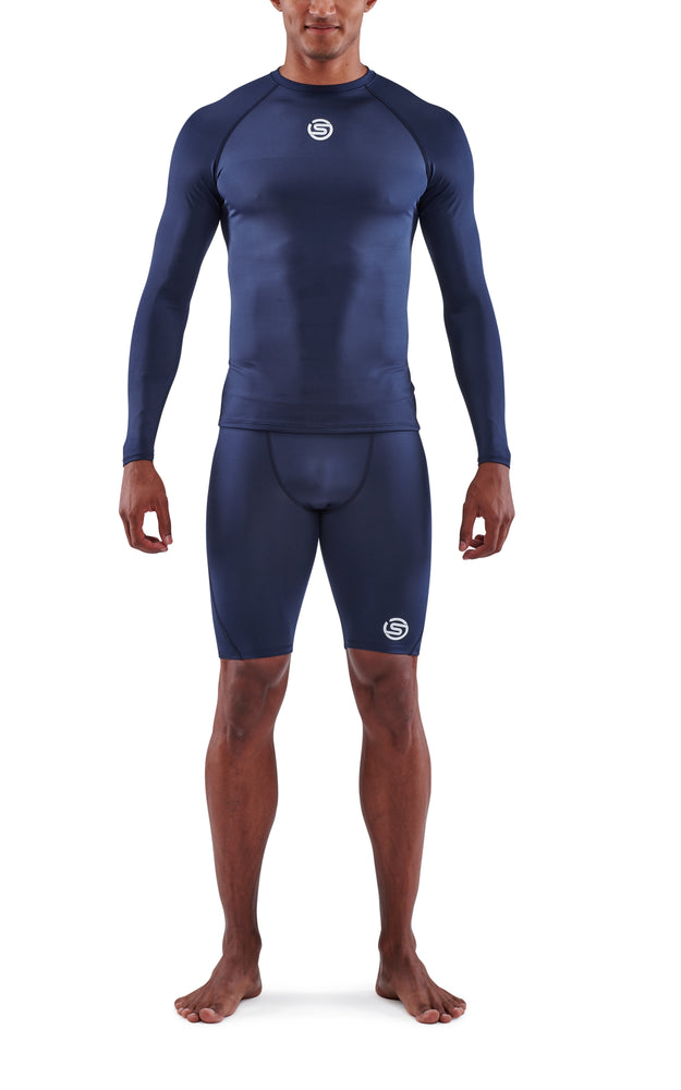 SKINS Men's Compression Long Sleeve Tops 1-Series - Navy Blue