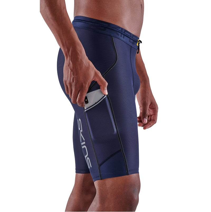 SKINS Men's Compression Half Tights 3-Series - Navy Blue