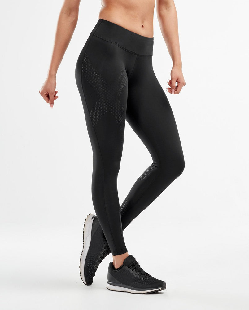 2XU Women's Mid-Rise Compression Tights - Black Dotted Black : WA2864b