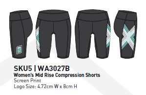 2XU COMP RUN Women's Mid Rise Compression Shorts : WA3027B CUST/CUST (BLUE)