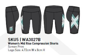 2XU COMP RUN Women's Mid Rise Compression Shorts : WA3027B