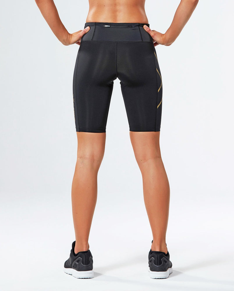 2XU WOMEN'S MCS RUN COMPRESSION SHORT-WA4414B (BLK/GLD)