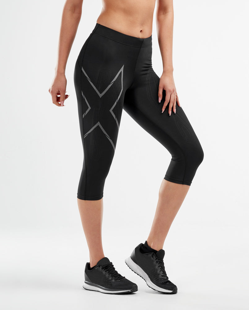 2XU Women's MCS RUN Compression 3/4  Tights : WA5333B - Blk/Blk Reflective
