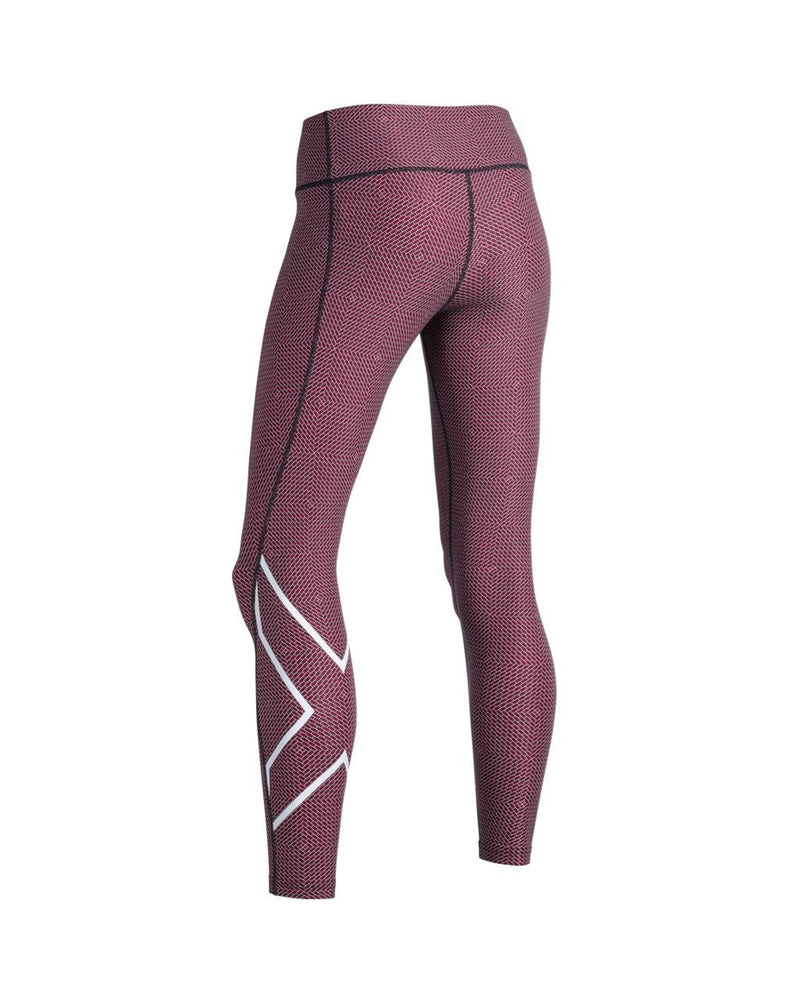 2XU Women's Print Mid-Rise Compression Tights-WA5378B (BKP/WHT)