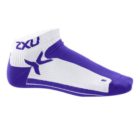 2XU Women's Performance Low Rise Socks-WQ1904E (WHT/PHU)