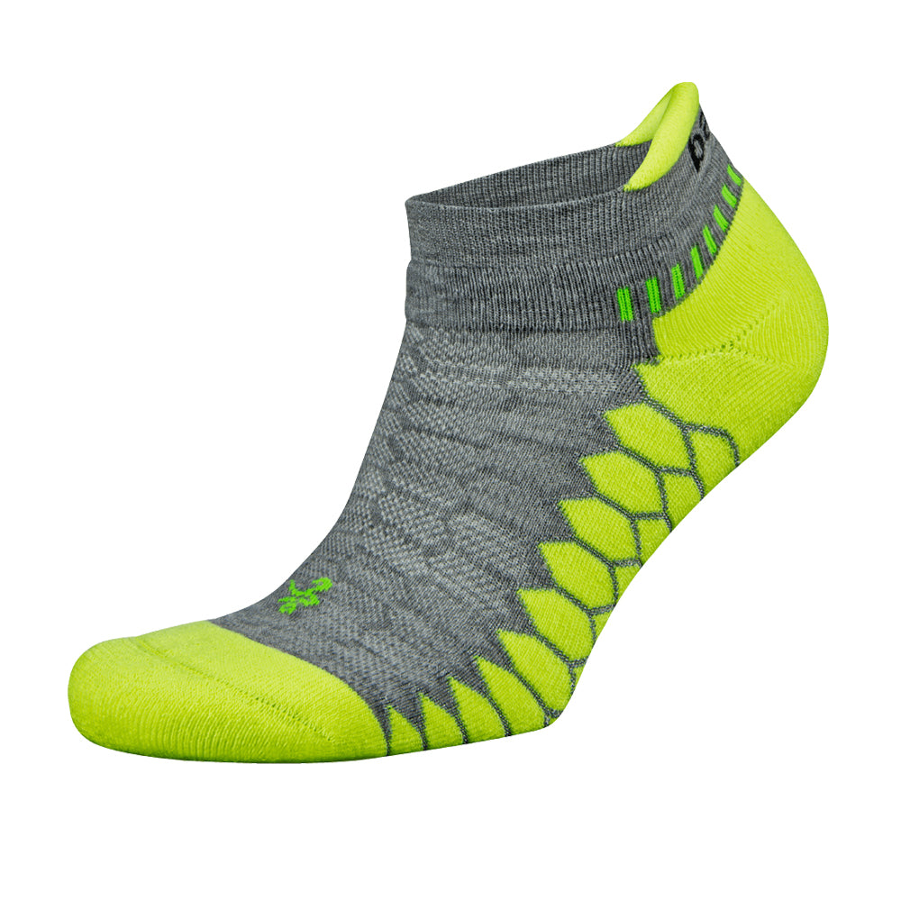 Balega Silver No Show Running Socks - Mid Grey/Neon Lime
