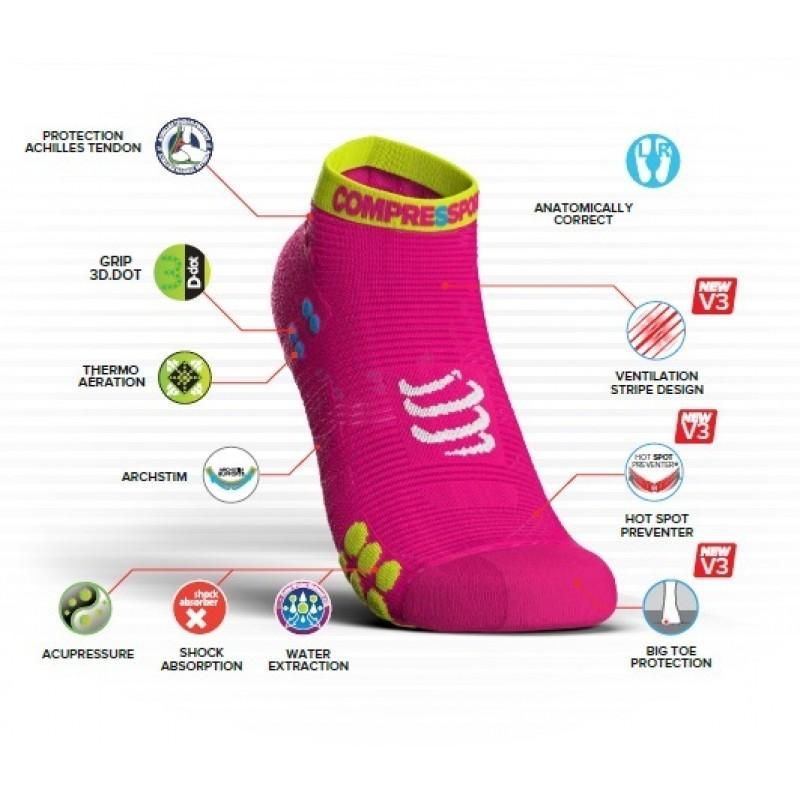 COMPRESSPORT PRO RACING SOCKS V3.0 RUN LOW (RSLV3-0000) - SMART WHITE