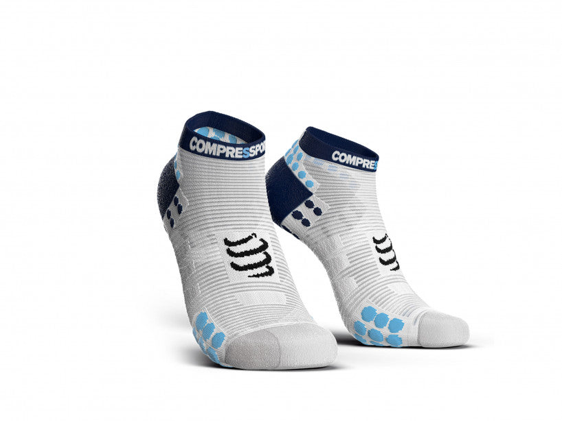 Compressport Unisex Pro Racing Socks v3.0 Run Low White/Blue - RSLV3-00BL
