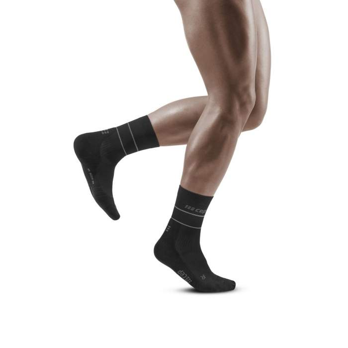 CEP Men's Reflective Mid Cut Socks - Black