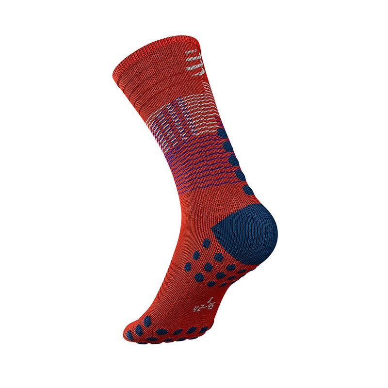 COMPRESSPORT MID COMPRESSION SOCKS (MDS-R-22)- BLACK/BLOOD ORANGE