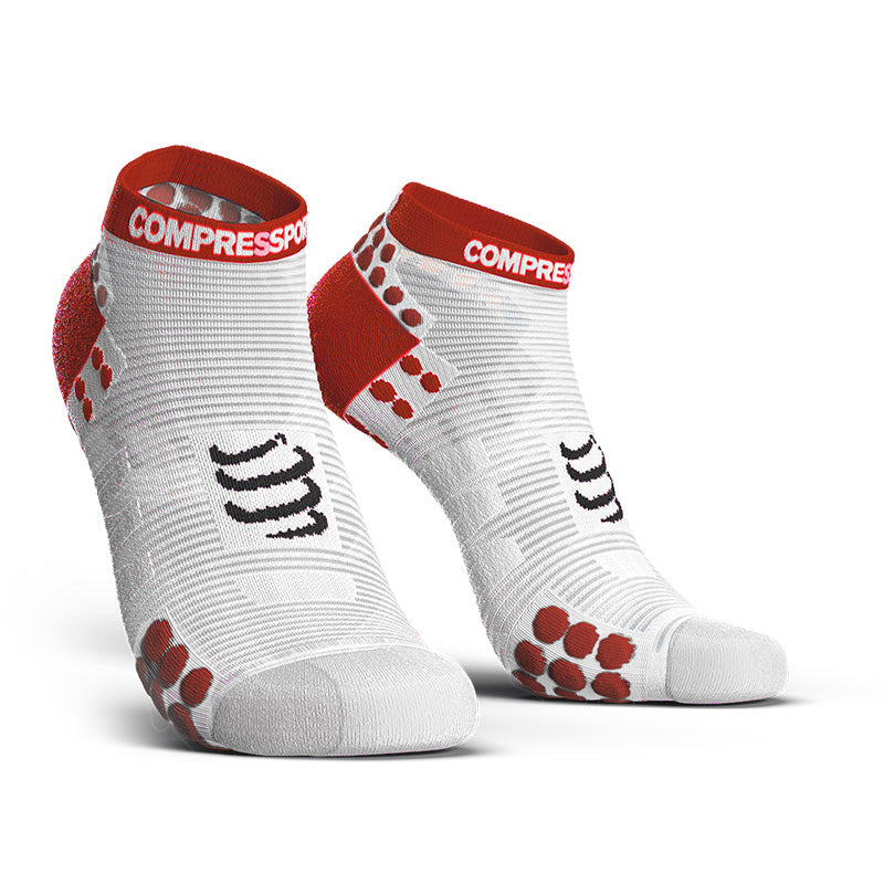 COMPRESSPORT PRO RACING SOCKS RUN LOW ASIA (RSLV3-00RD-AS) - WHITE/RED