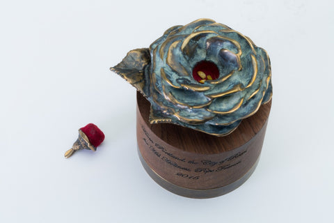 Portland Rose Reliquary with White Rose Seeds