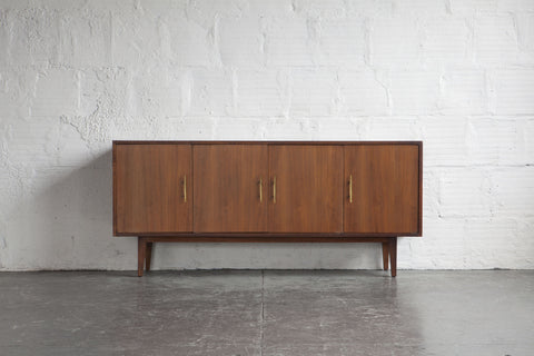 Walnut Credenza with Brass Handles