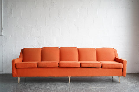 Large Orange Sofa With Maple Feet