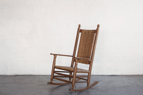 Vintage Woven Rope Rocking Chair