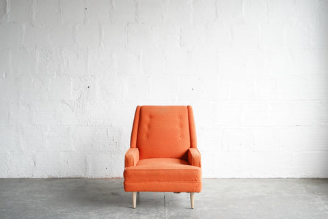 Orange Lounge Chair with Maple Feet