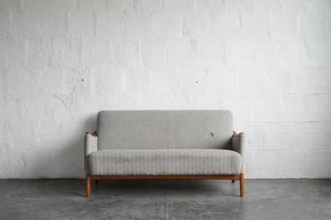 Grey Pinstriped Danish Loveseat