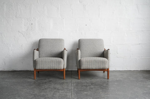 Gray Pinstriped Danish Lounge Chairs (Pair)