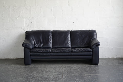 Ekornes Blue Leather Sofa