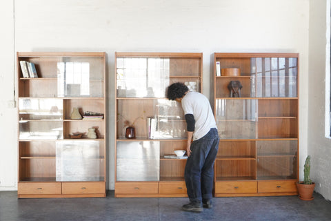 Large Teak Bookshelves with Glass Doors
