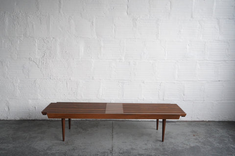 Mid-Century Modern Extendable Slat Wood Bench/Coffee Table
