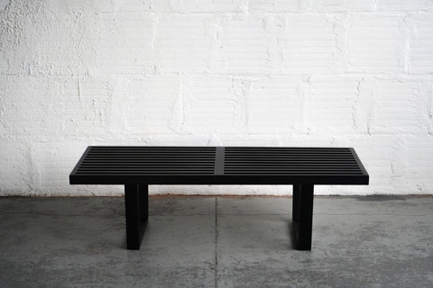 Black George Nelson Style Slatted Bench/Coffee Table