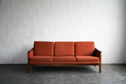 Burnt Orange Mid-Century Sofa with Walnut Frame