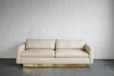 Milo Baughman Wavy-Patterned Couch with Brass Base for Thayer Coggin