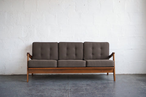 Danish Wall-Leaning Sofa with Textured Upholstery