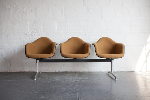Vintage Eames Three Seat Upholstered Airport Bench
