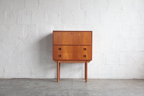 Teak Secretary Desk/ Tall Boy Drawbridge Credenza