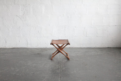 Leather Folding Guldhoj PH 43 Stool Poul Hundevad
