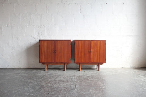 Danish Side Tables/ Credenzas with Brass Handles