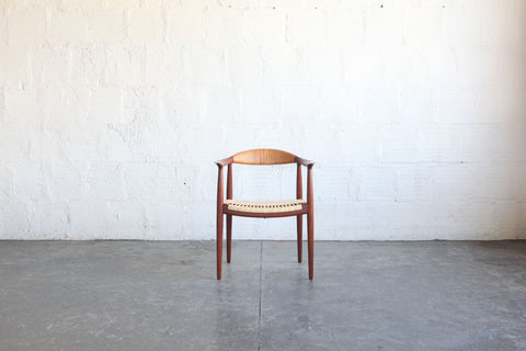 Hans Wegner Teak, Wicker Elbow Chair