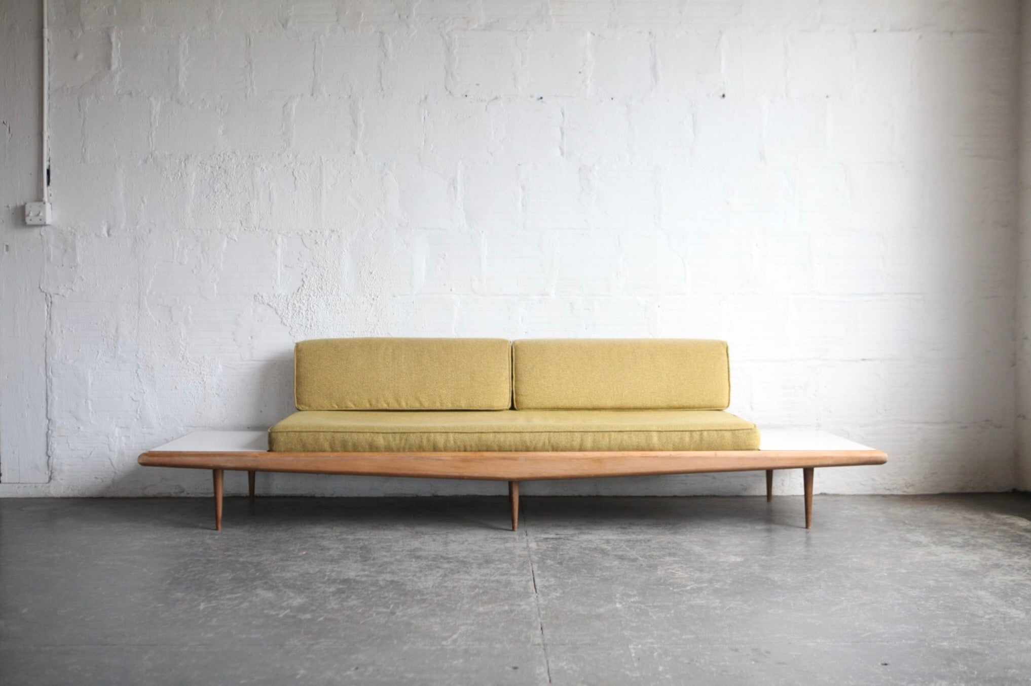 mid century modern sofa with side tables the good mod rh thegoodmod com mid century modern sofa bed mid century modern vintage sofas