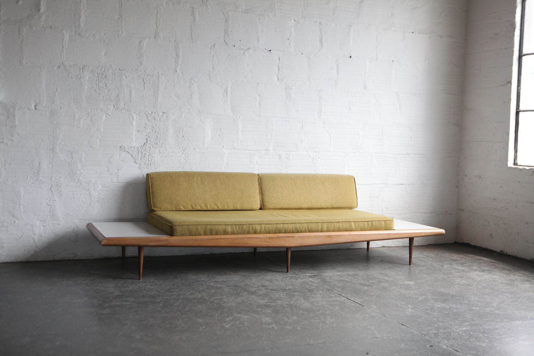 Mid Century Modern Sofa With Side Tables