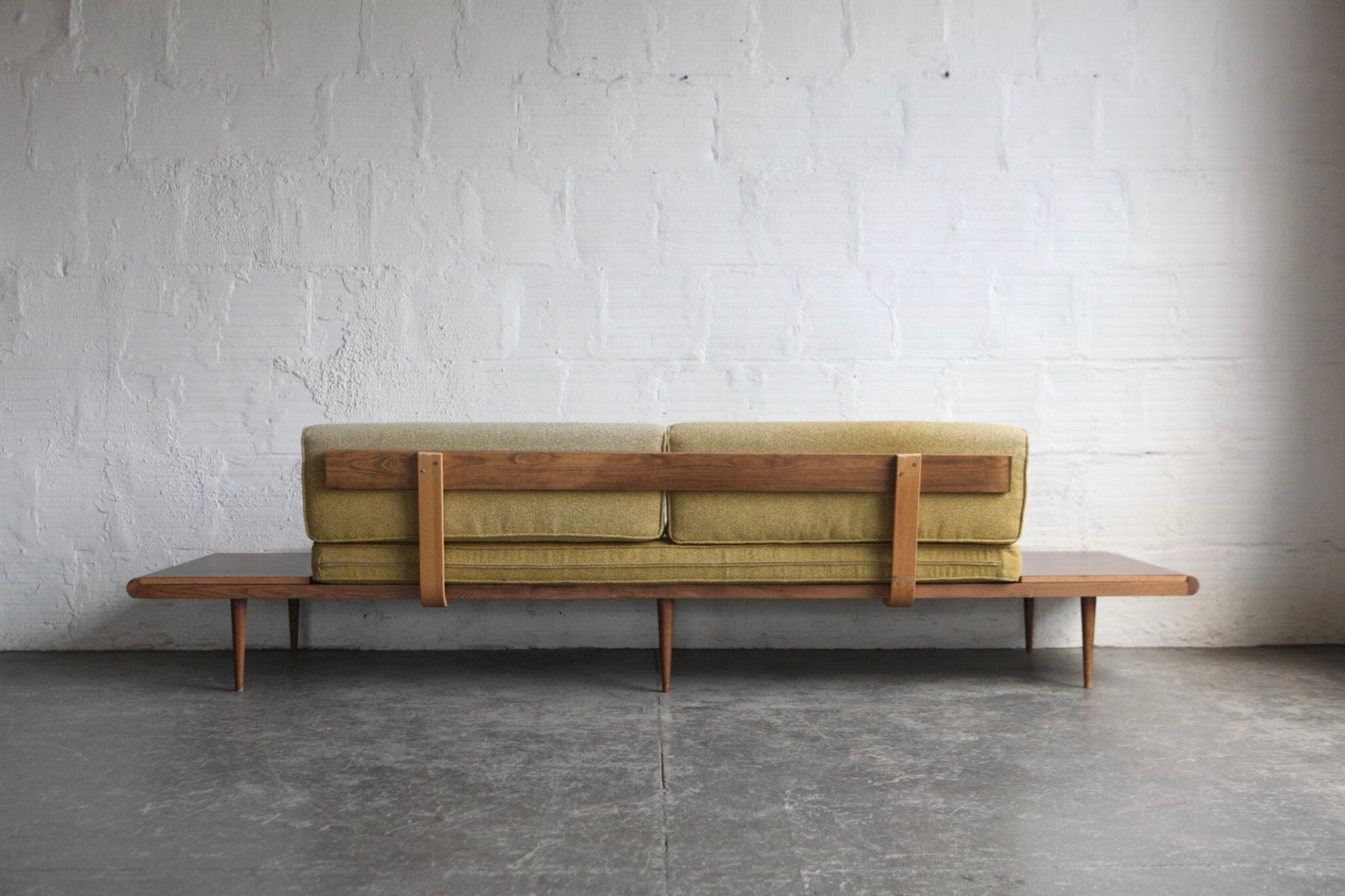Mid-Century Modern Sofa with Side Tables