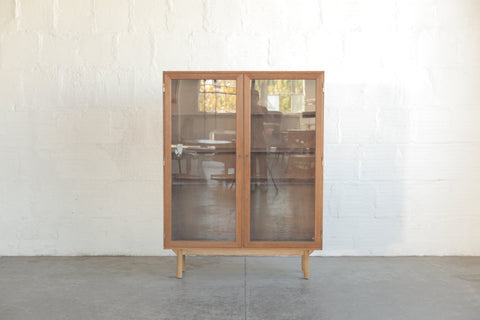 Rosewood & Glass Bookcase w/ Oak Base