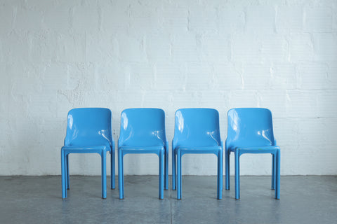 """Selene"" Stackable Blue Chairs by Vico Magistretti (Set of Four)"