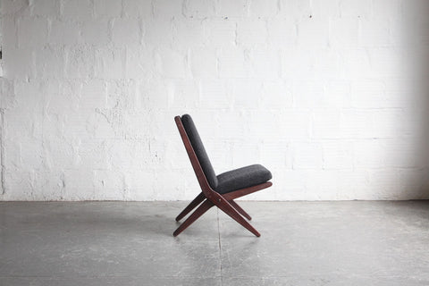 Mid-Century Modern Walnut Scissor Lounge Chair